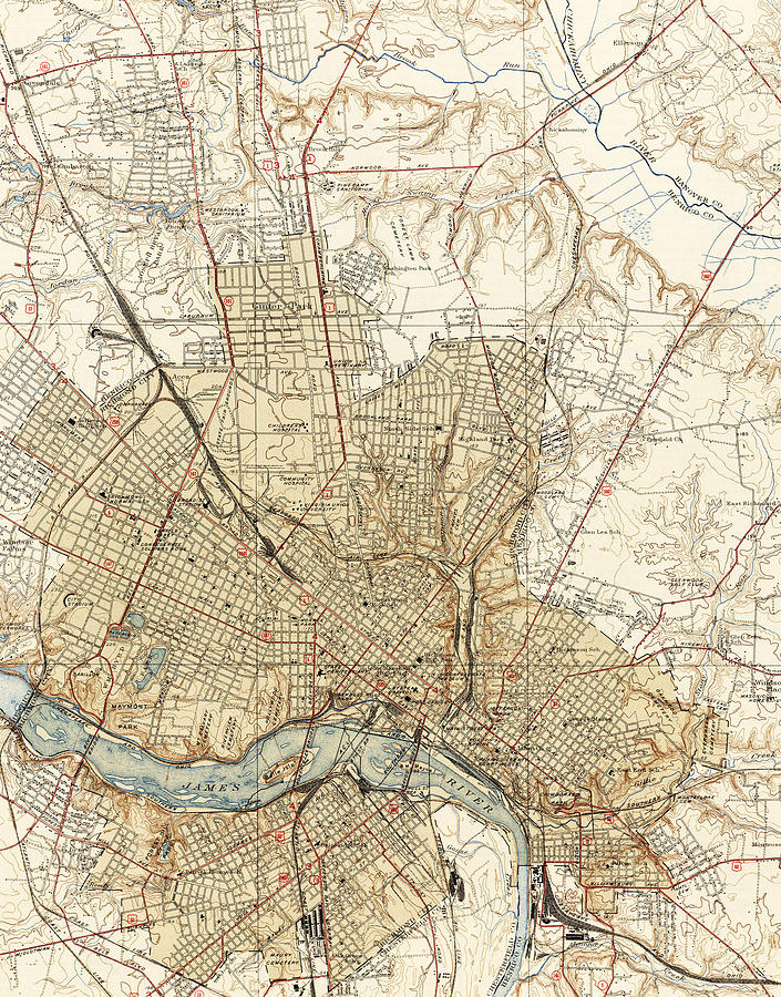 Vintage Map Of Richmond Virginia - 1934