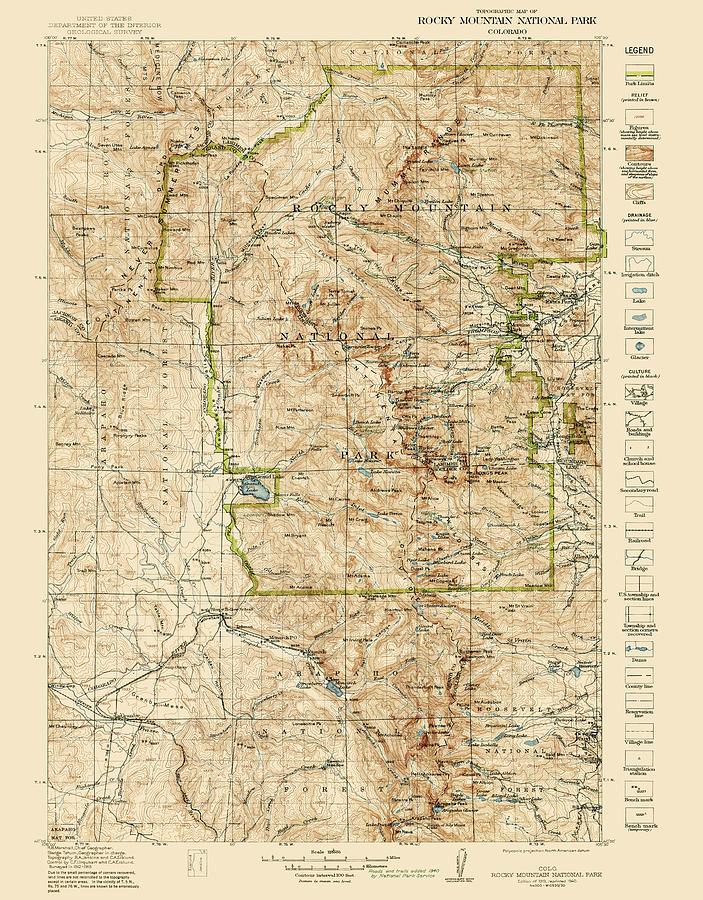 Vintage Map Of Rocky Mountain National Park - Colorado - 1919/1940 ...