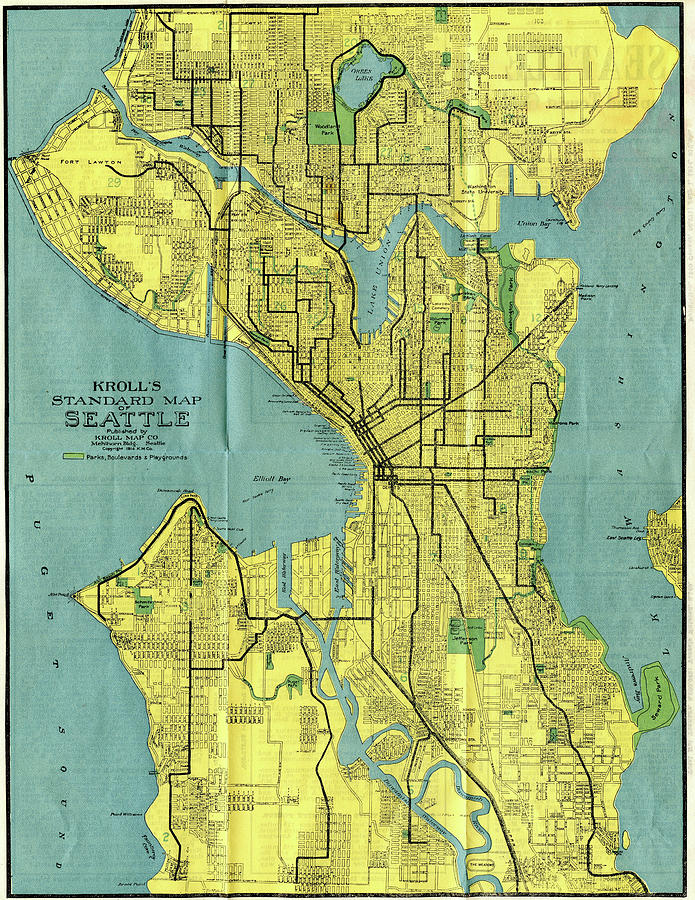 Vintage Map Of Seattle Washington - 1914 Drawing by ...