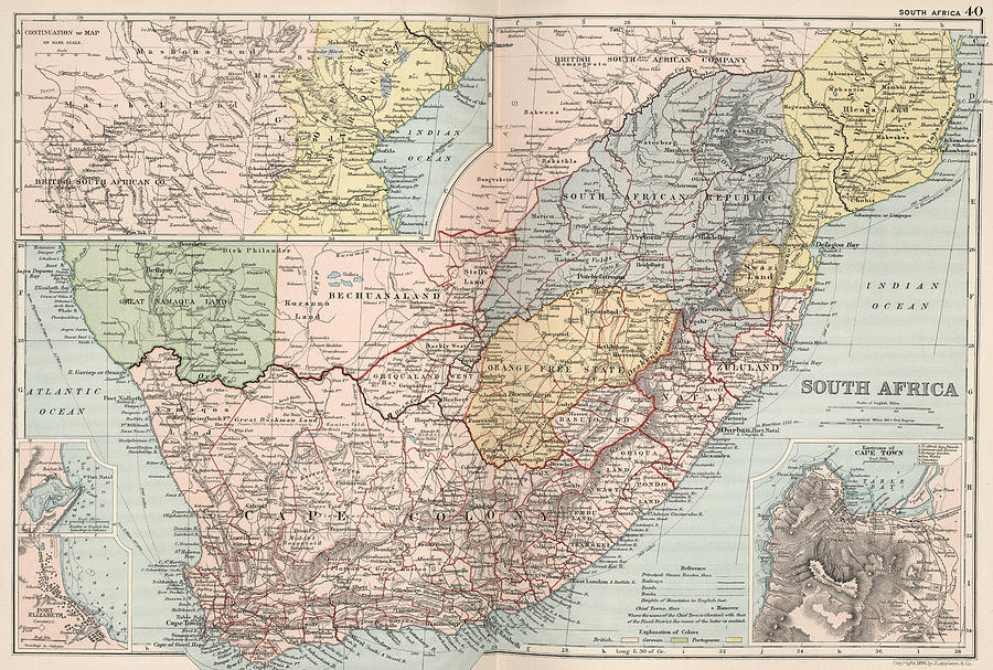Vintage Map Of South Africa   1892 Drawing by CartographyAssociates
