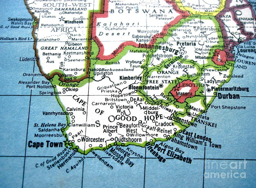 Vintage Map Of South Africa - Cape Of Good Hope Photograph by ...