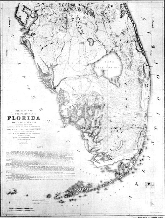 Vintage Map Of Southern Florida Drawing By - Map of southern florida