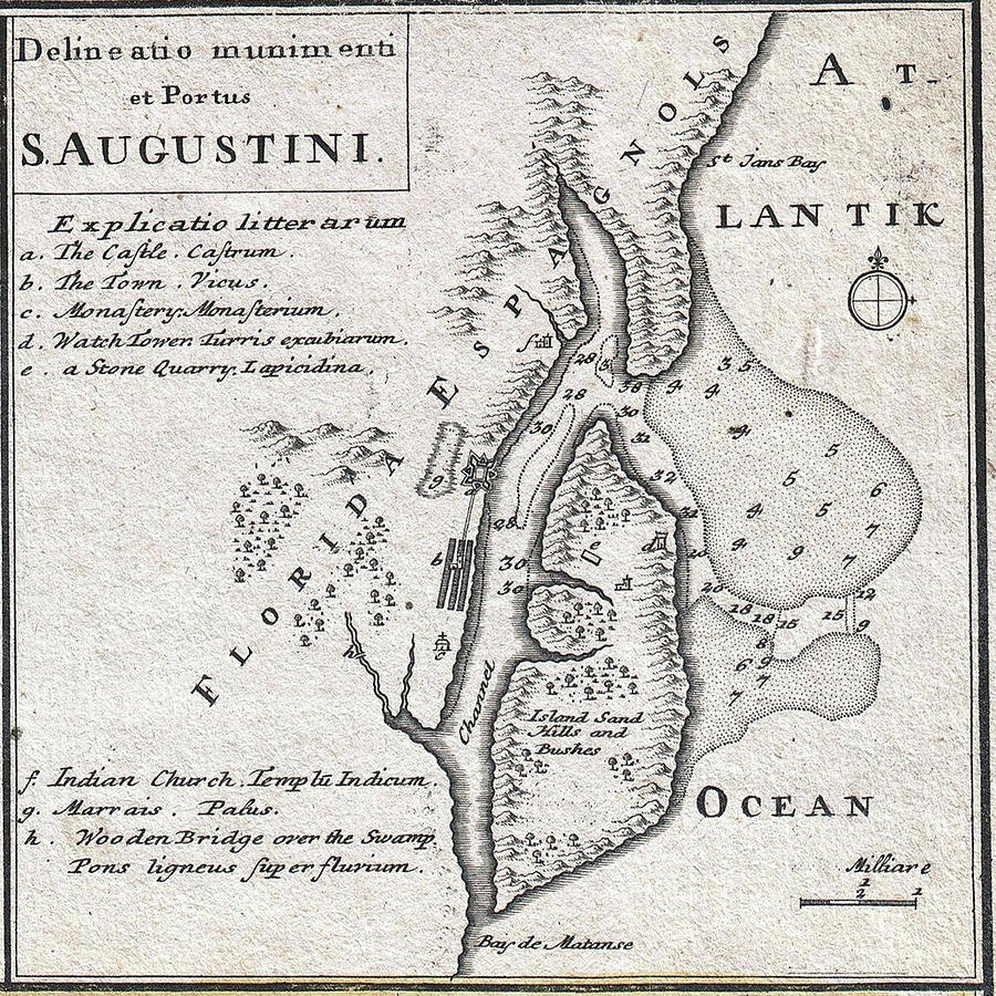 Map St Augustine Florida.Vintage Map Of St Augustine Florida 1737 Drawing By