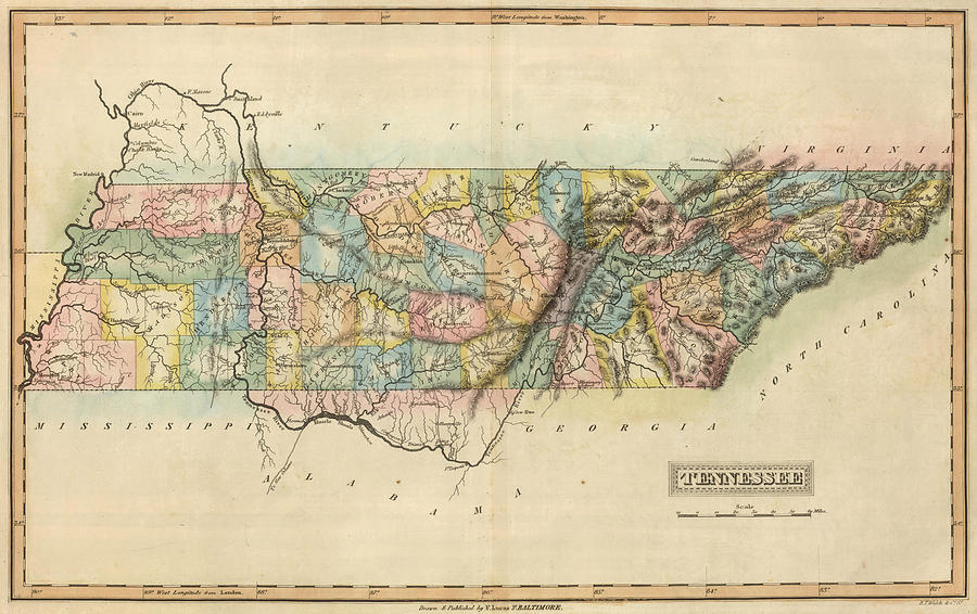 Vintage Map Of Tennessee - 1822