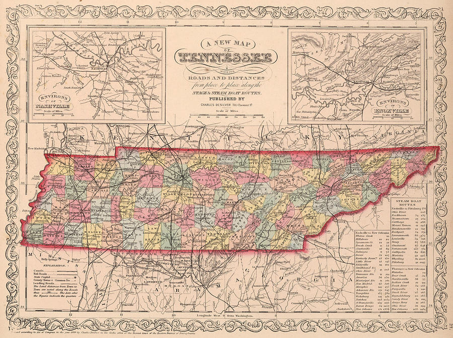 Vintage Map Of Tennessee Drawing By CartographyAssociates - Map of tennesee