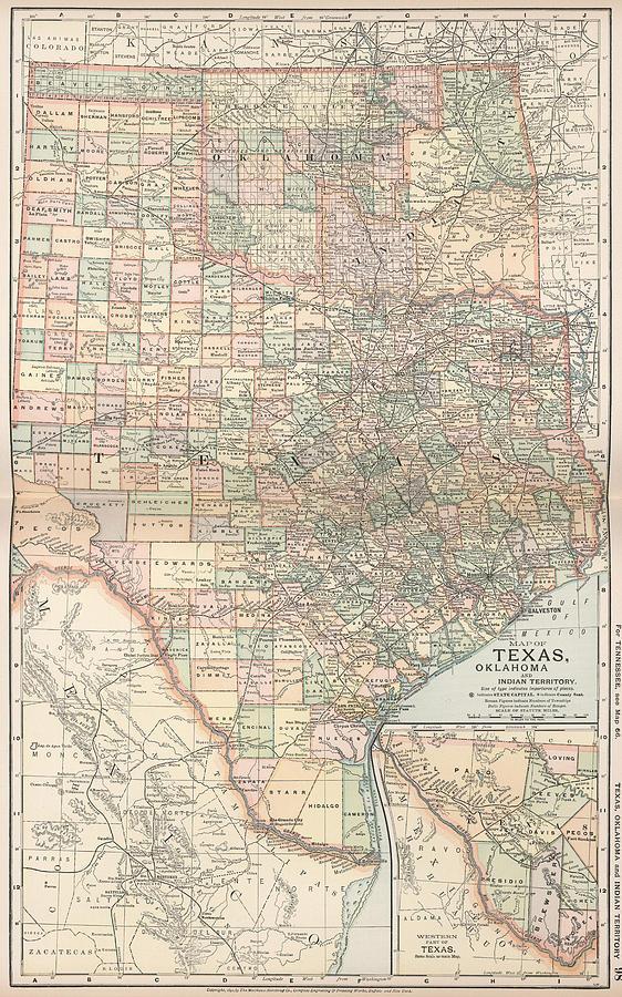 Vintage Map Of Texas And Oklahoma - 1891