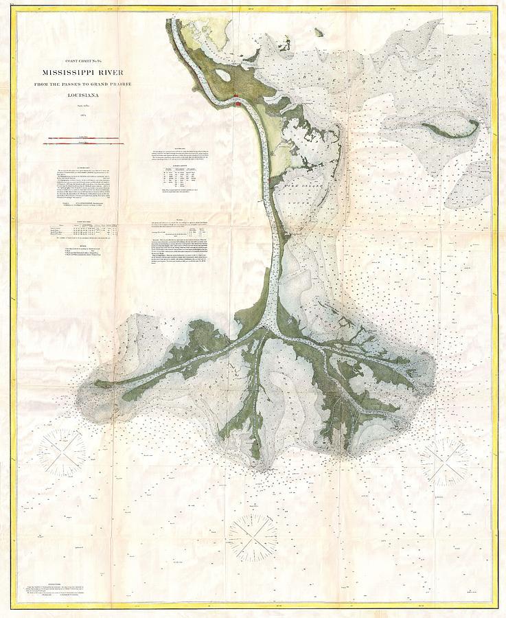 Vintage Map Of The Mississippi River Delta Drawing By - Mississippi river delta map