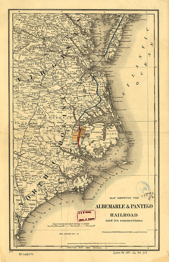 Vintage Map Of The North Carolina Coast Drawing By - Map of north carolina coast