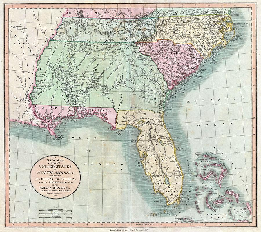 Vintage Map Of The Southeastern U.s. Drawing by Adam Shaw