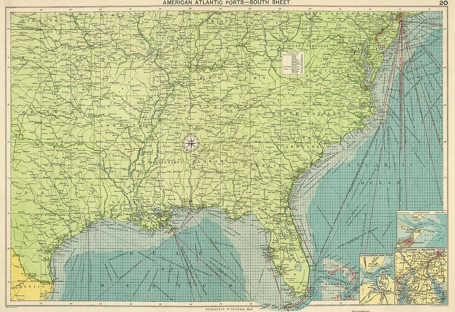 Vintage Map Of The Southeastern U.s. Ports - 1922