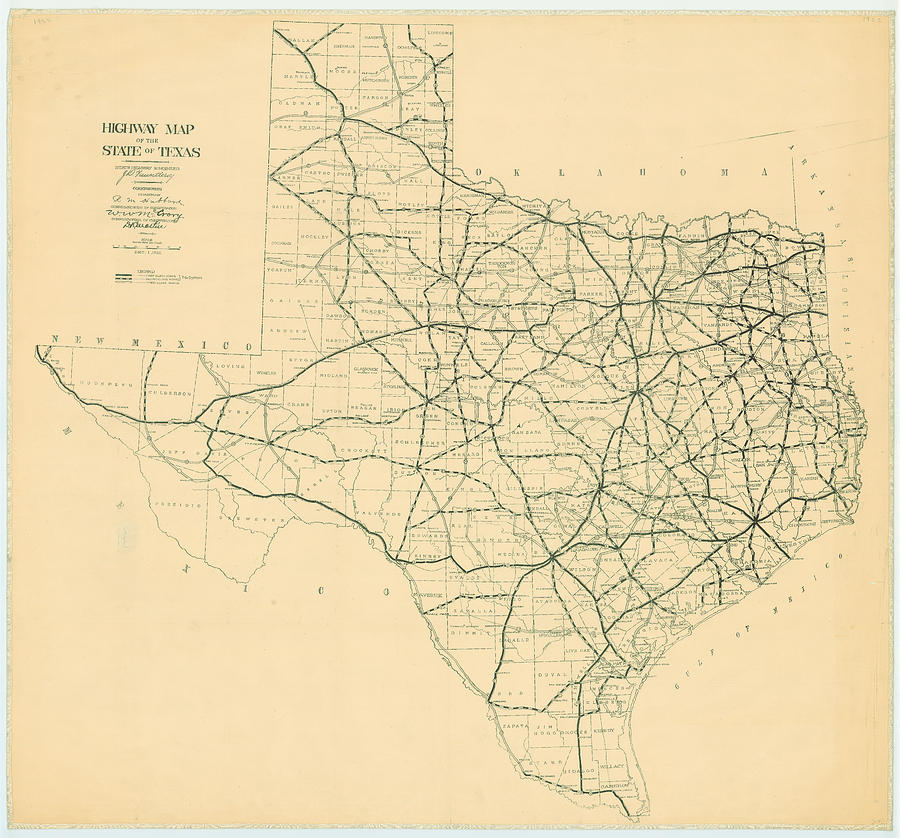 Map Of Texas With Highways.Vintage Map Of The Texas Highways By Cartographyassociates