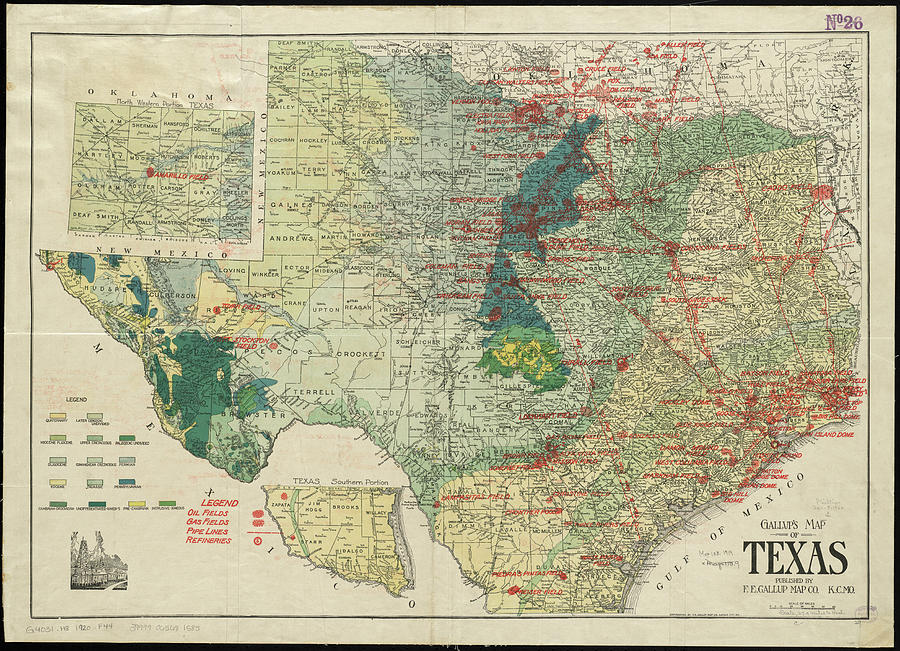 Vintage Map Of The Texas Oil And Gas Fields 1920 Drawing By
