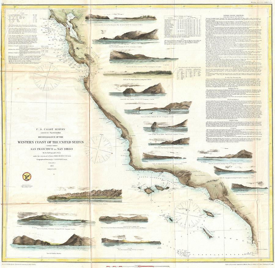 Vintage Map Of The Us West Coast 1853 Drawing by
