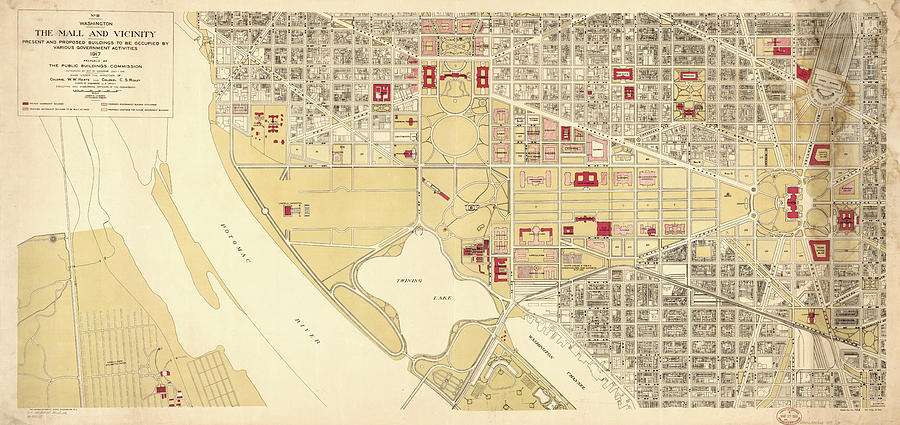 Vintage Map Of The Washington Dc Mall Drawing By - Washington dc mall map pdf