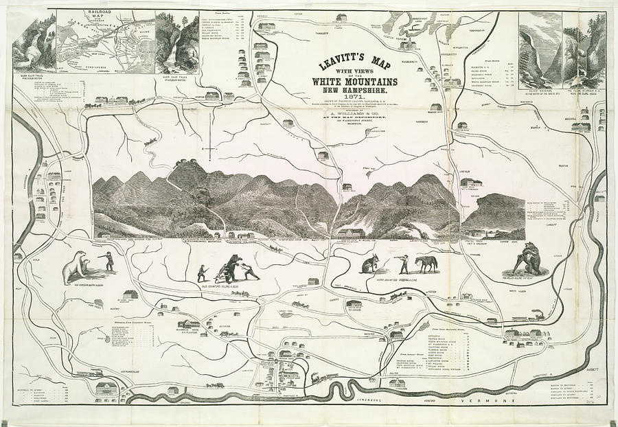Vintage Map Of The White Mountains - 1871 Drawing