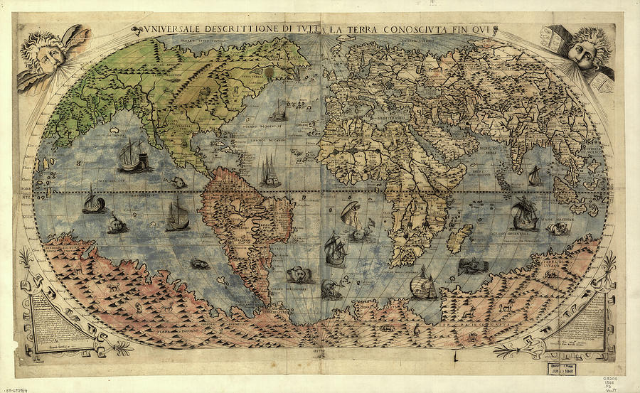 Vintage Map Of The World - 1565 Drawing
