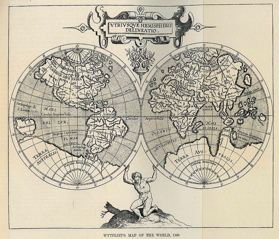 Vintage Map Of The World - 1598 Drawing