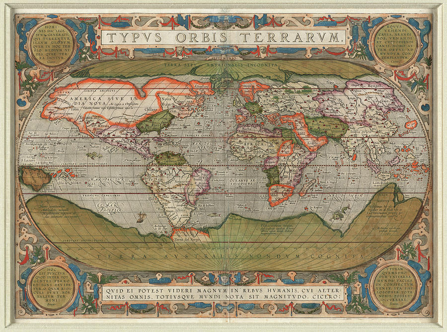 Vintage Map Of The World - 1608 Drawing
