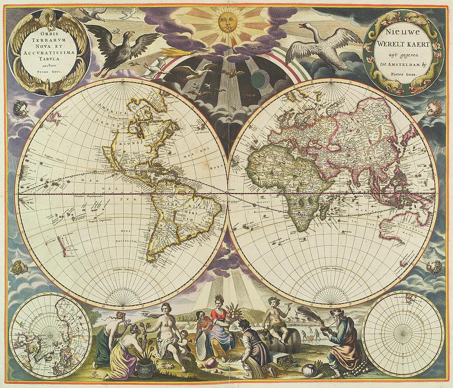 Vintage Map Of The World - 1668 Drawing