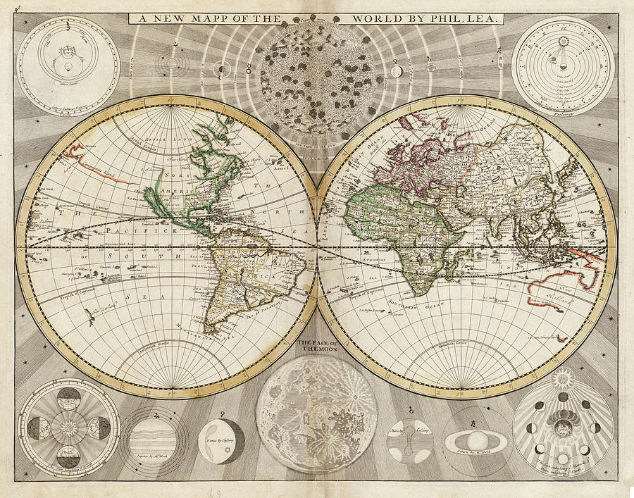 Vintage Map Of The World - 1687 Drawing