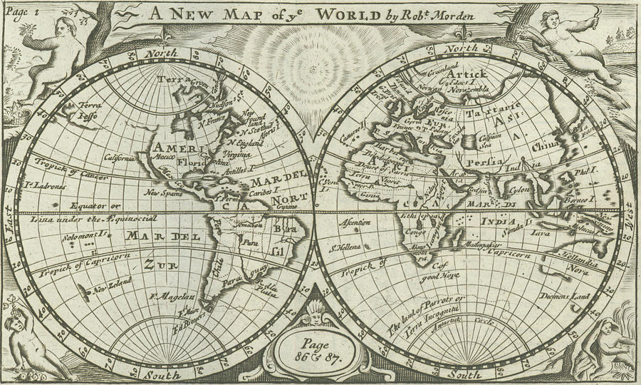 Vintage Map Of The World - 1708 Drawing