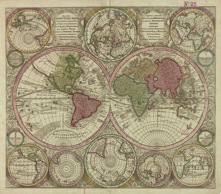 Vintage Map Of The World - 1730 Drawing