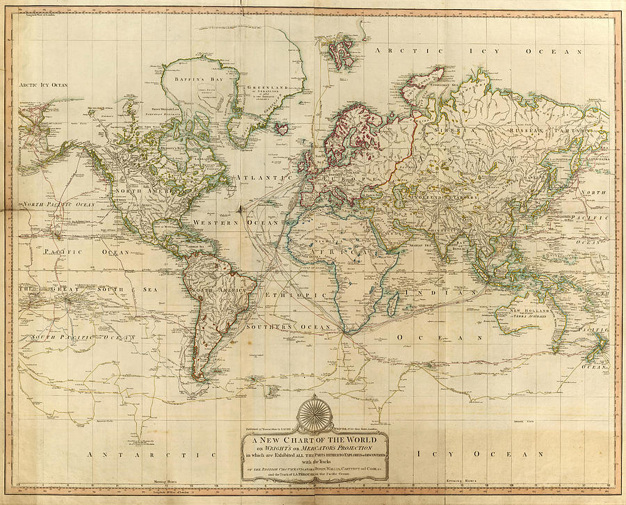 Vintage Map Of The World - 1800 Drawing by CartographyAssociates