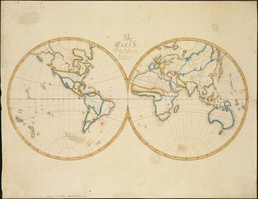 Vintage Map Of The World - 1821 Drawing
