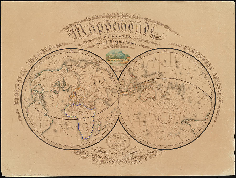 Vintage Map Of The World - 1839 Drawing