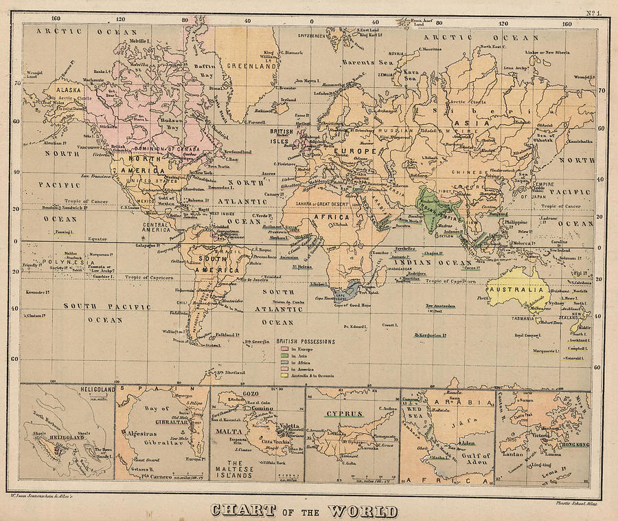 Vintage Map Of The World   1880 Drawing by CartographyAssociates