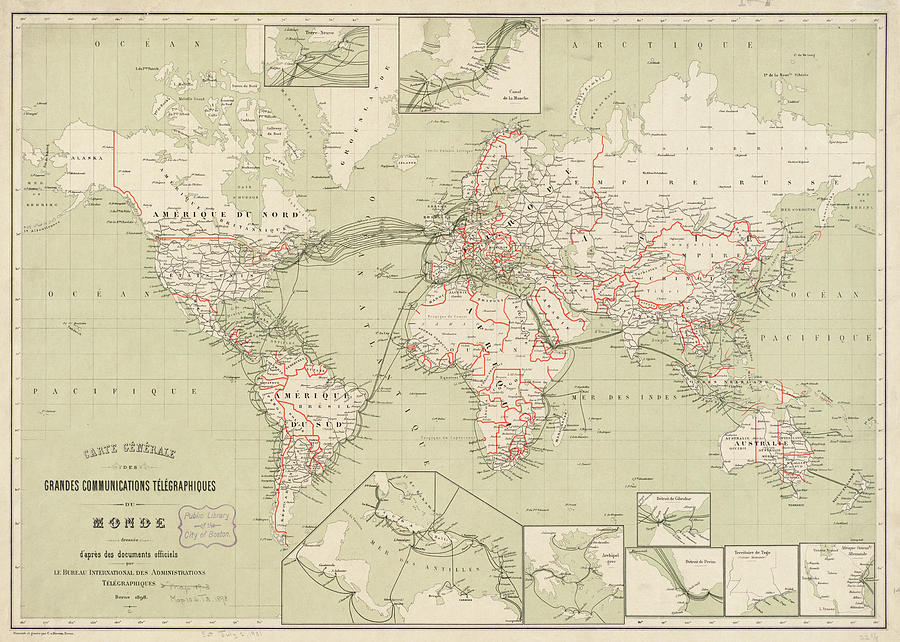 World Drawing - Vintage Map of The World - 1898 by CartographyAssociates