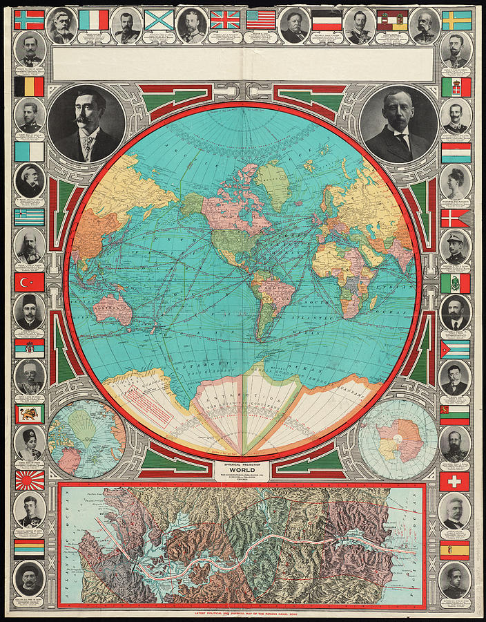 Vintage Map Of The World - 1913 Drawing by CartographyAssociates