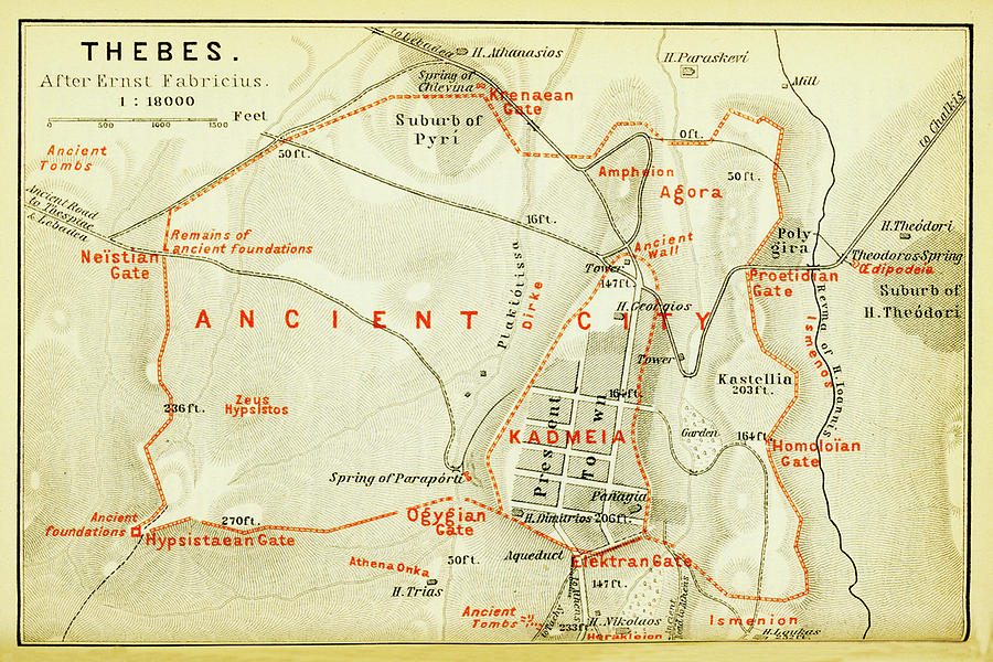 Vintage Map Of Thebes Egypt Drawing By CartographyAssociates - Map of egypt thebes