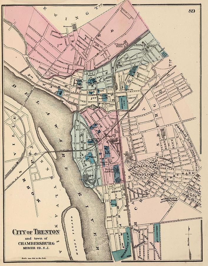 Vintage Map Of Trenton Nj 1872 Drawing by CartographyAssociates