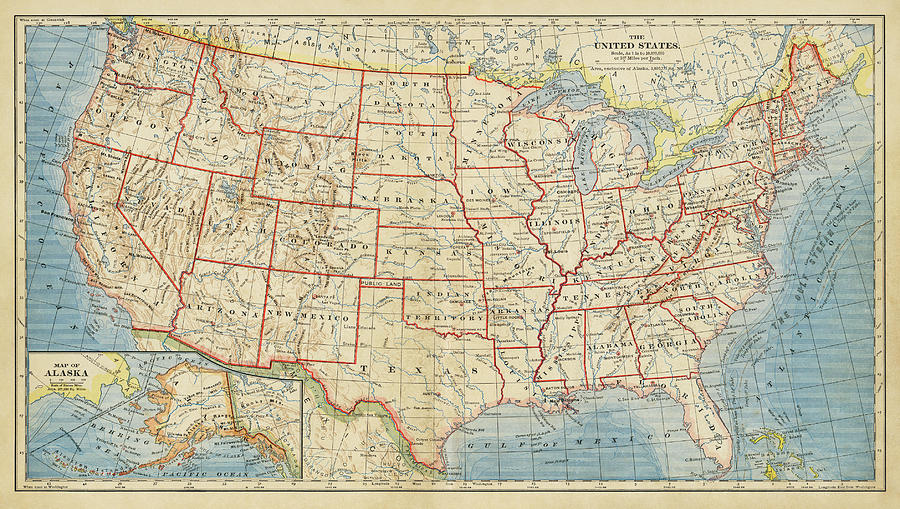 Vintage Map Of United States 1883 Drawing By World Art Prints And