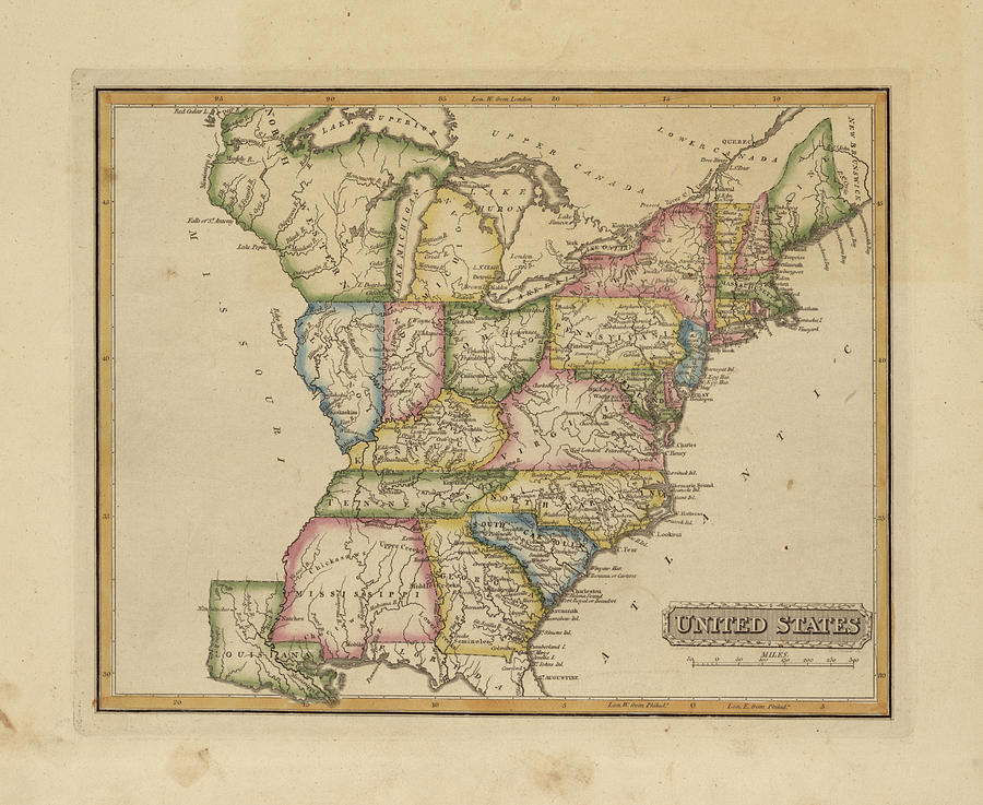 19th Century Painting - Antique Map Of United States by Fielding Lucas