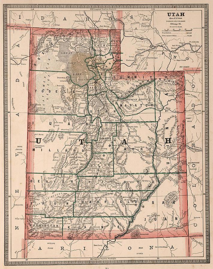 Vintage Map Of Utah - 1883 Drawing by CartographyAssociates