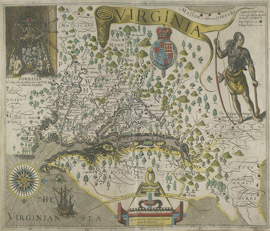 Vintage Map Of Virginia Drawing By CartographyAssociates - Vintage map of virginia