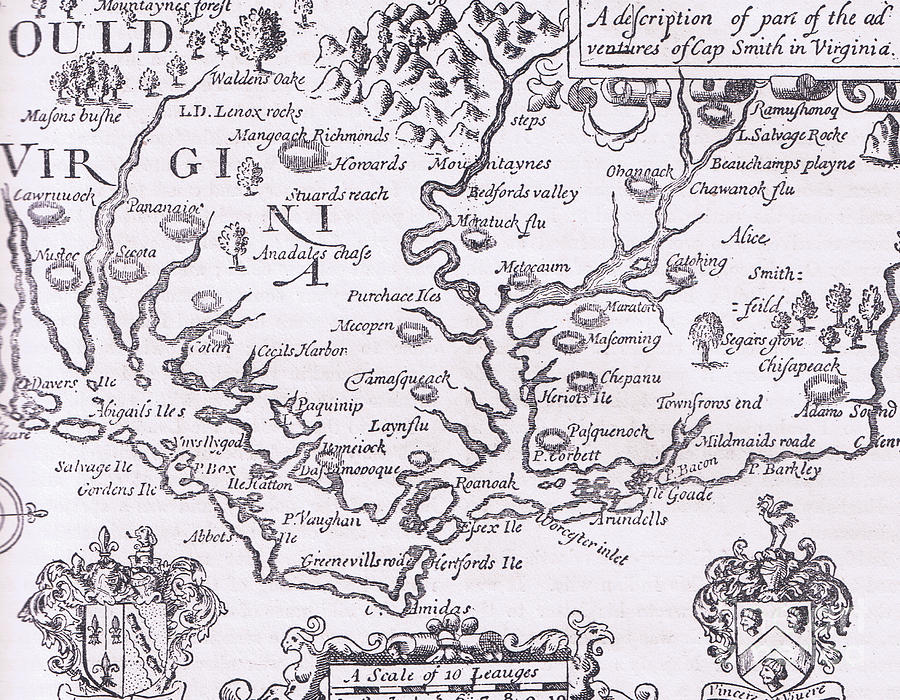 History Drawing - Vintage Map Of Virginia by American School