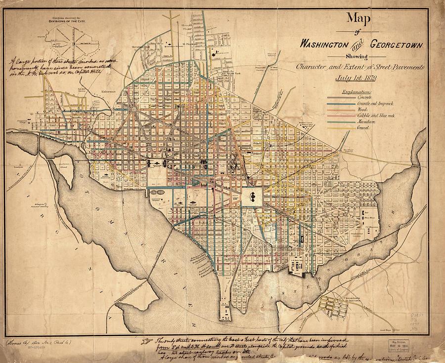 Vintage Map Of Washington Dc - 1879 Drawing