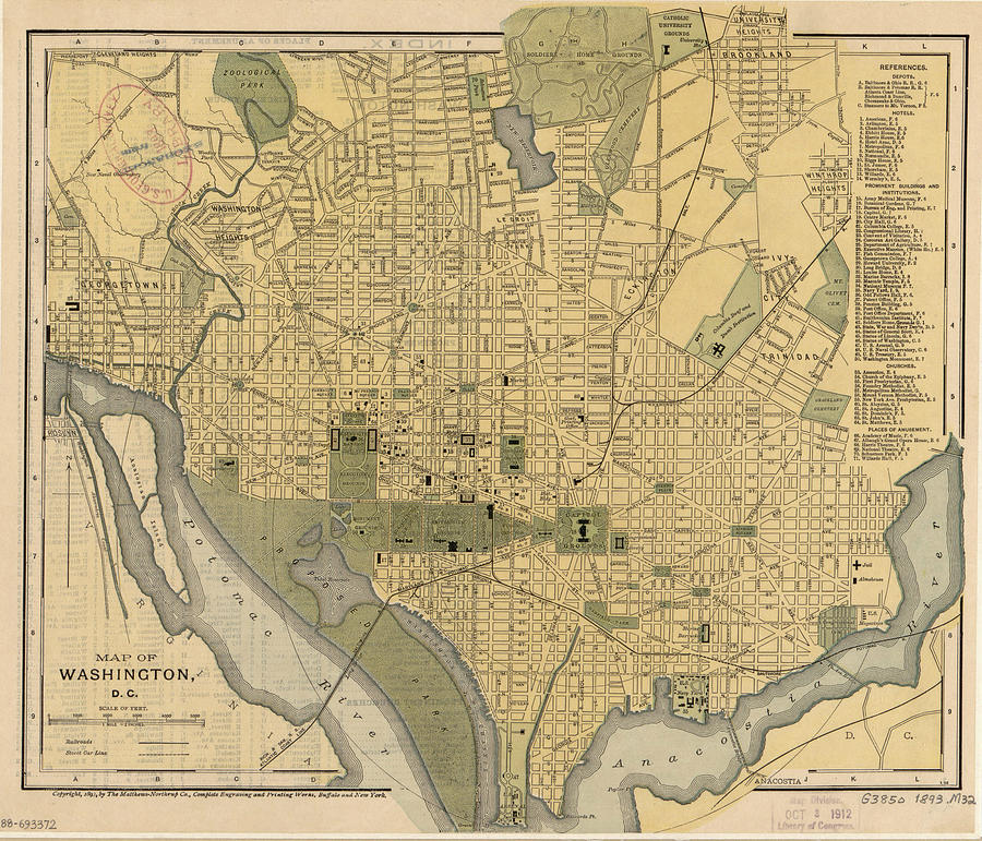 Vintage Map Of Washington Dc - 1893 Drawing