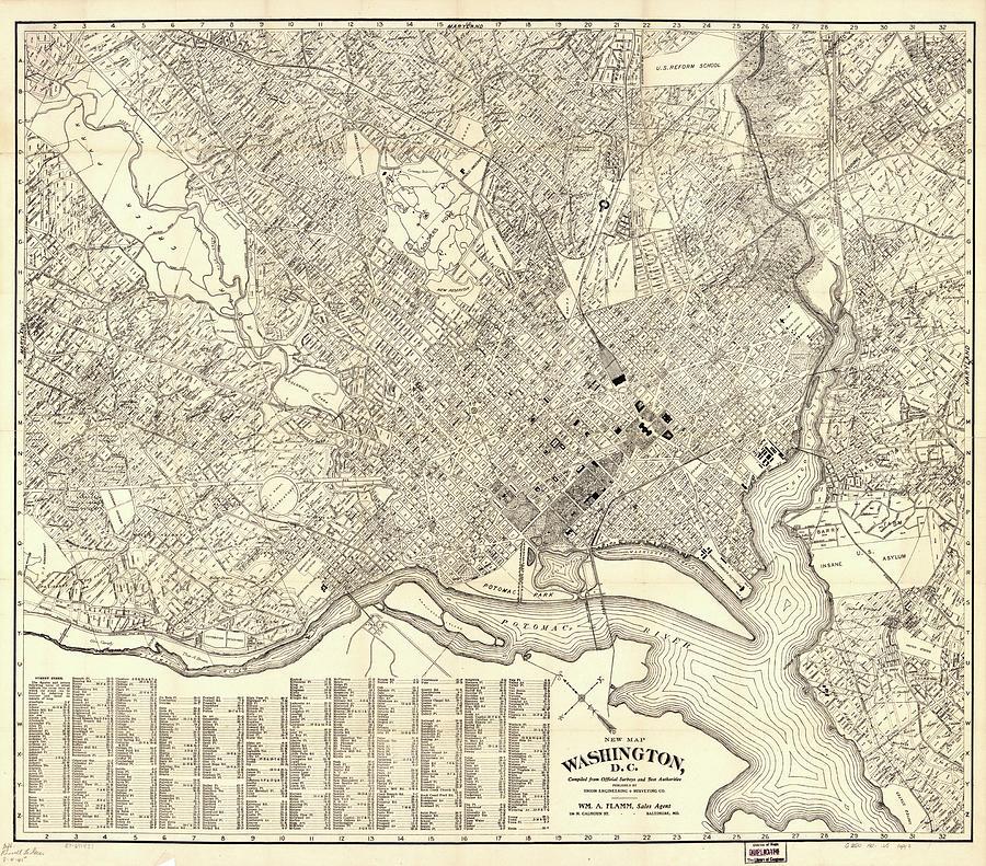 Map 1900.Vintage Map Of Washington Dc 1900 By Cartographyassociates