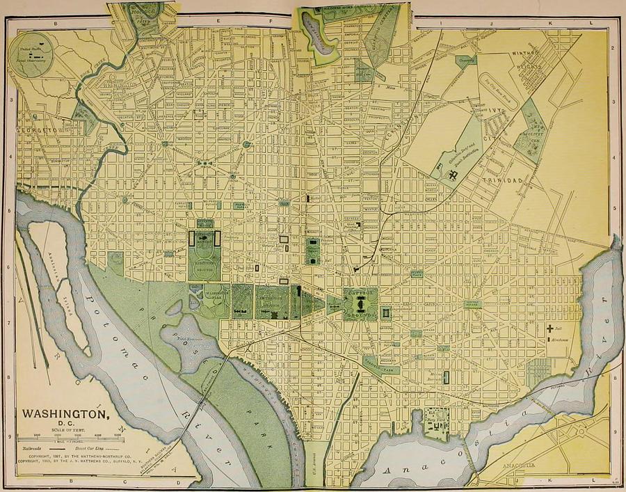 Vintage Map Of Washington Dc - 1905 Drawing