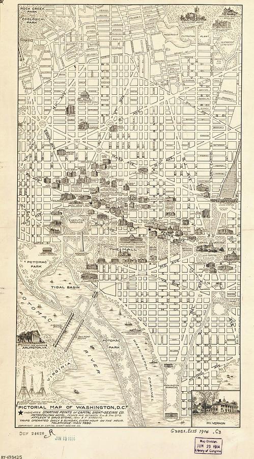 Vintage Map Of Washington Dc - 1914 Drawing