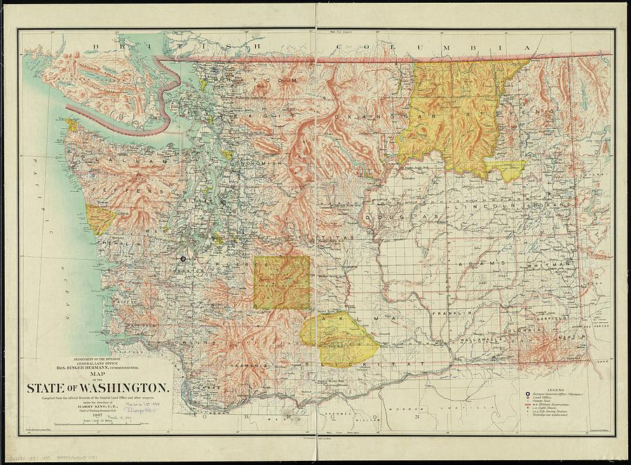 Vintage Map Of Washington State - 1897 Drawing by ...