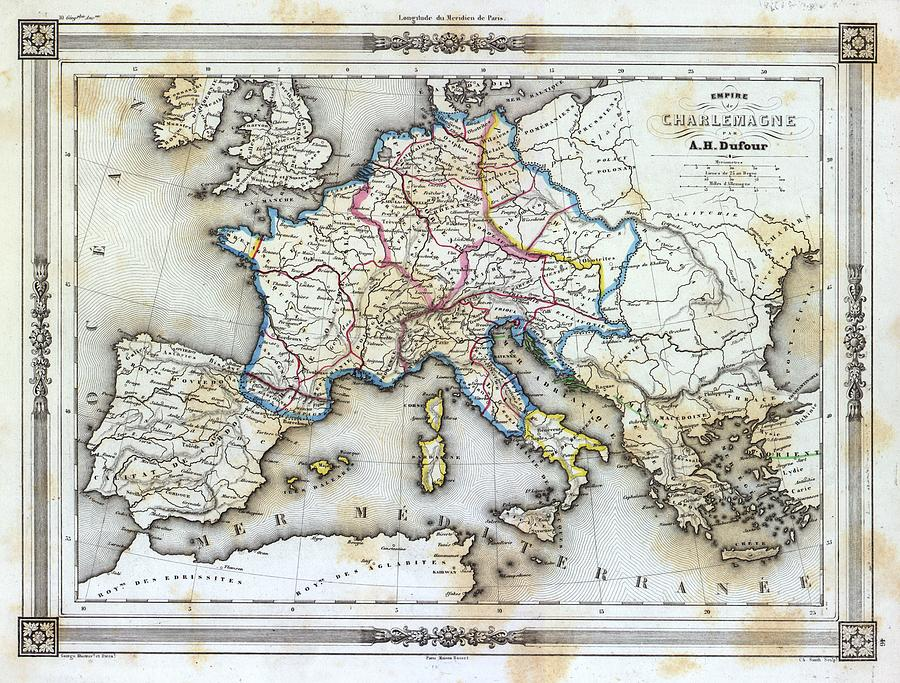 Vintage Map Of Western Europe Photograph By Gillham Studios - Map of western europe