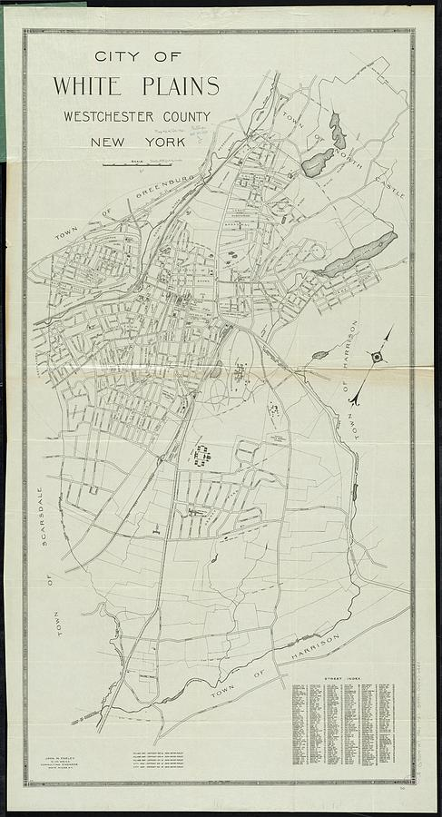 Vintage Map Of White Plains Ny - 1921 Drawing