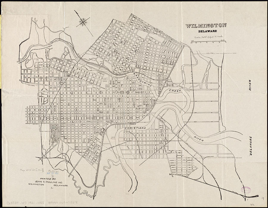Vintage Map Of Wilmington Delaware - 1921 Drawing