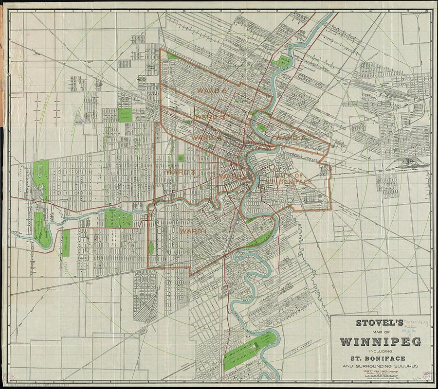 Vintage Map Of Winnipeg Canada - 1917 Drawing