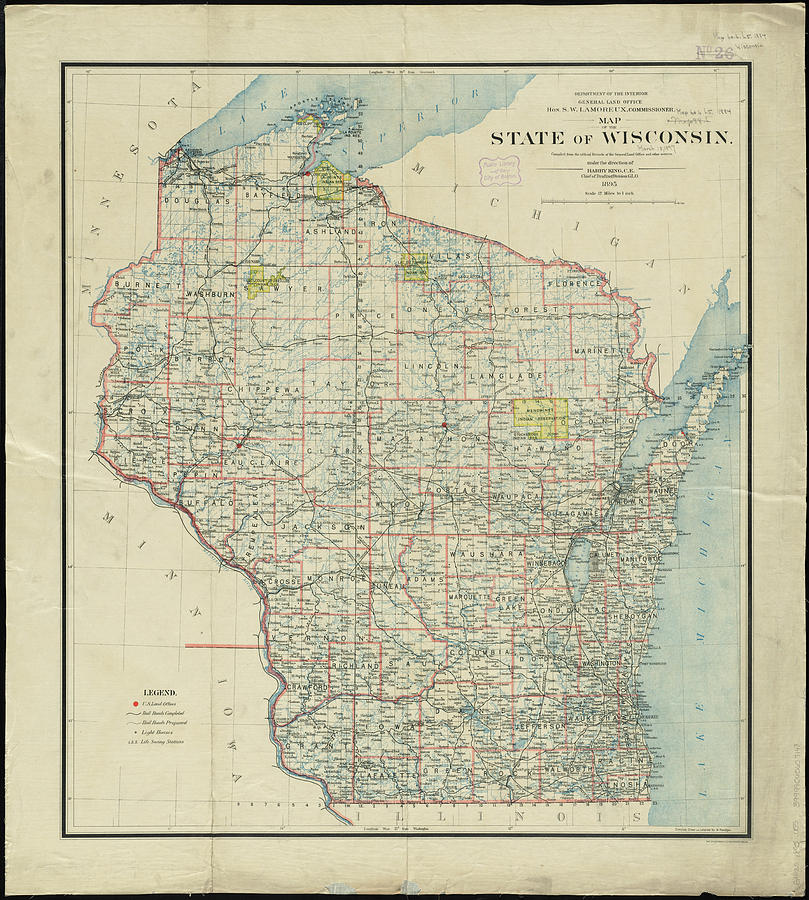 Vintage Map Of Wisconsin - 1895 Drawing